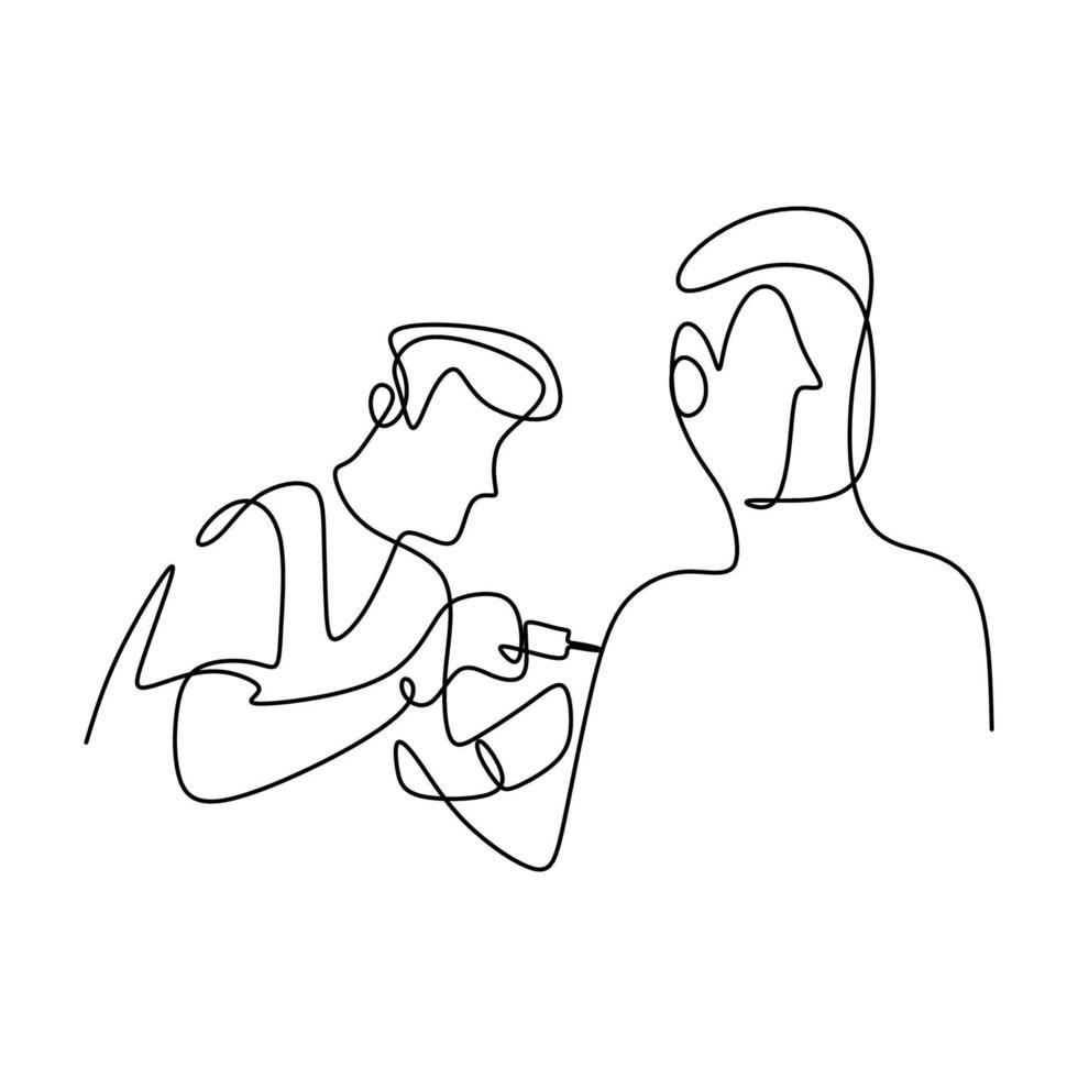 un disegno in linea continua di un giovane medico maschio che fa l'iniezione di vaccino in ospedale a un paziente maschio per proteggersi dal covid-19. prevenire il concetto di malattia. design minimalismo ufficiale medico disegnato a mano vettore