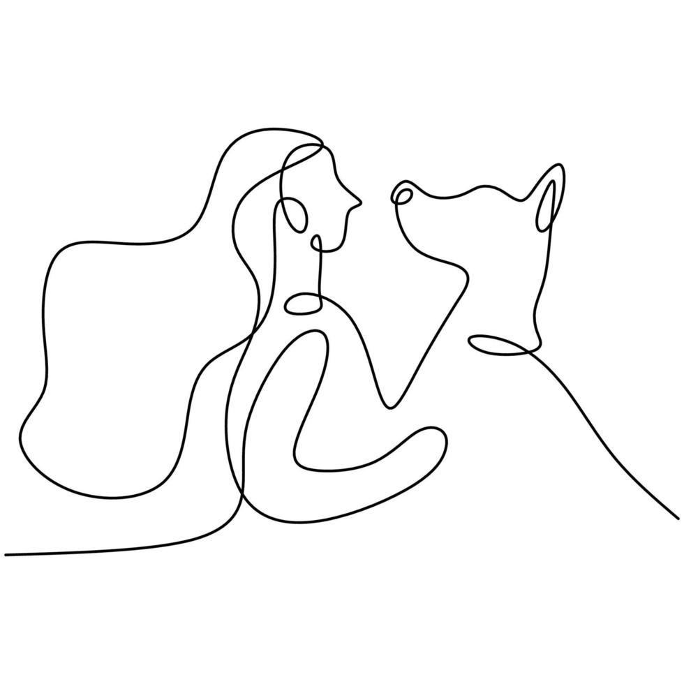 un disegno della giovane donna felice che gioca con il suo cane a casa. amicizia sul concetto di animale umano e animale domestico isolato su priorità bassa bianca. stile minimalista. illustrazione vettoriale