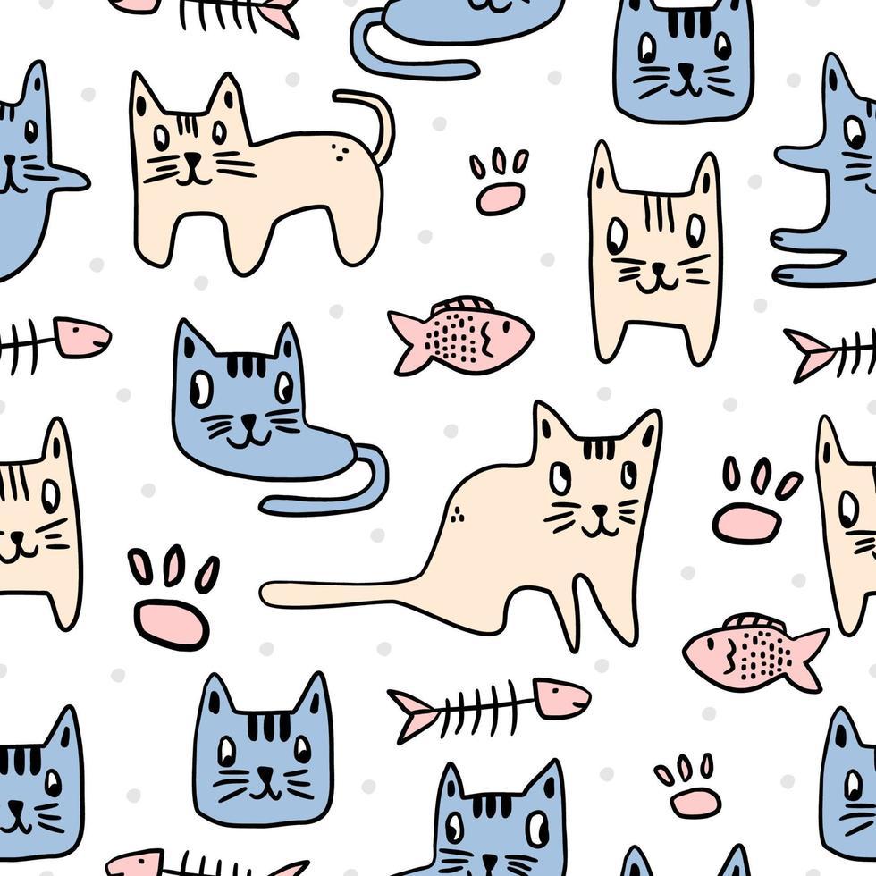 modello di bambini senza giunte di gatto carino. gattino decorato con una scritta a mano. gatti da sogno animali divertenti isolati su priorità bassa bianca. disegno del fumetto per la stampa tessile di moda per neonati, bambini e bambini vettore