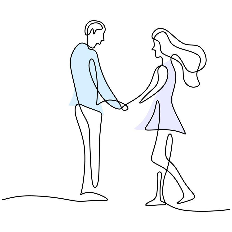continuo un disegno a tratteggio di felice giovane coppia in piedi e mano nella mano insieme. coppia di innamorati donna e uomo in posa romantica isolato su sfondo bianco. illustrazione di design minimalismo vettoriale