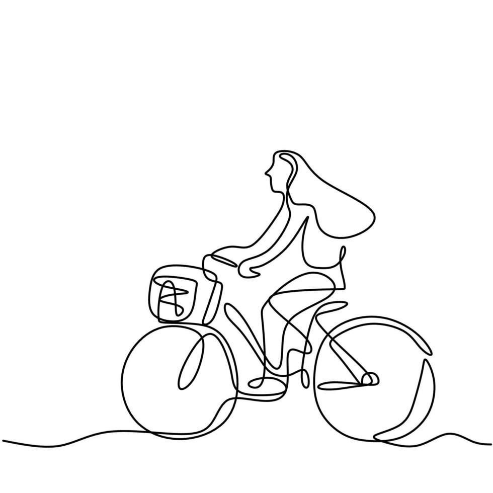 una sola linea di disegno felice giovane donna in bicicletta in strada. una ragazza allegra che gode in bicicletta al mattino per prendere una boccata d'aria fresca. concetto di stile di vita sano. illustrazione vettoriale