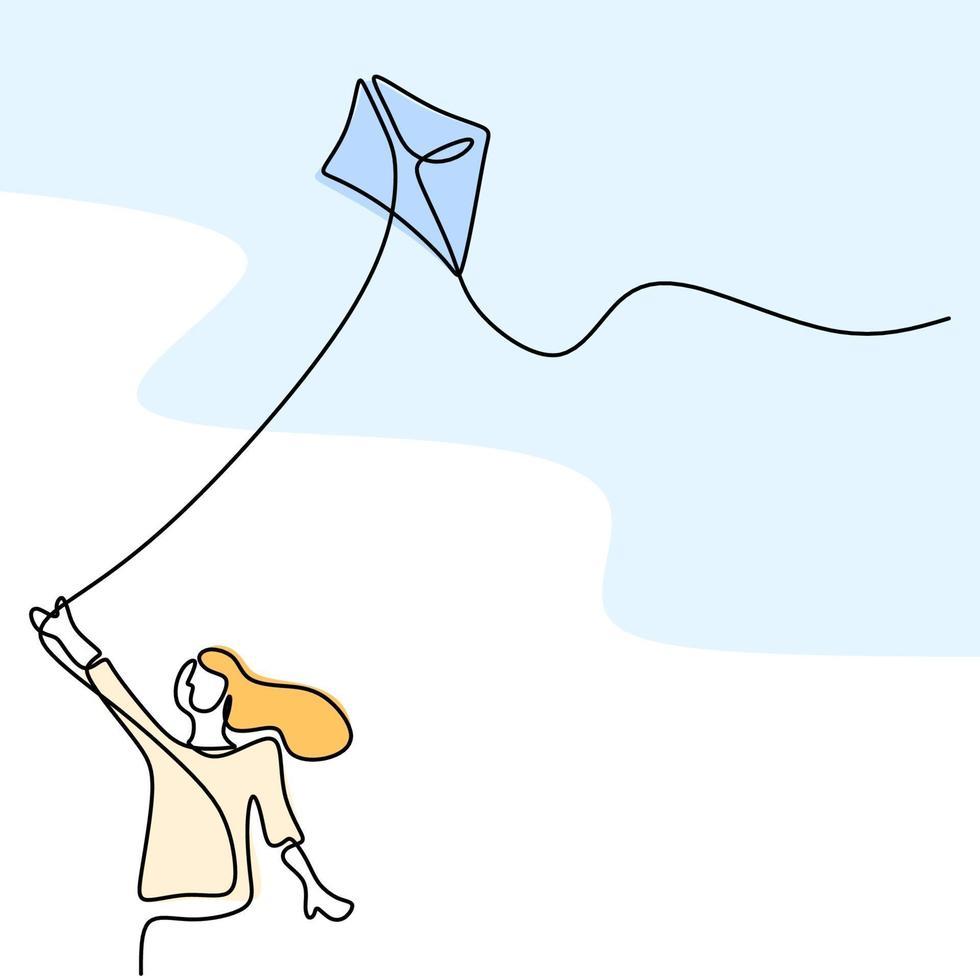 un unico disegno di felice giovane ragazza adolescente che gioca per far volare l'aquilone nel cielo al campo all'aperto nel periodo estivo. libertà e passione tema creativo disegnato a mano design minimalista vettore