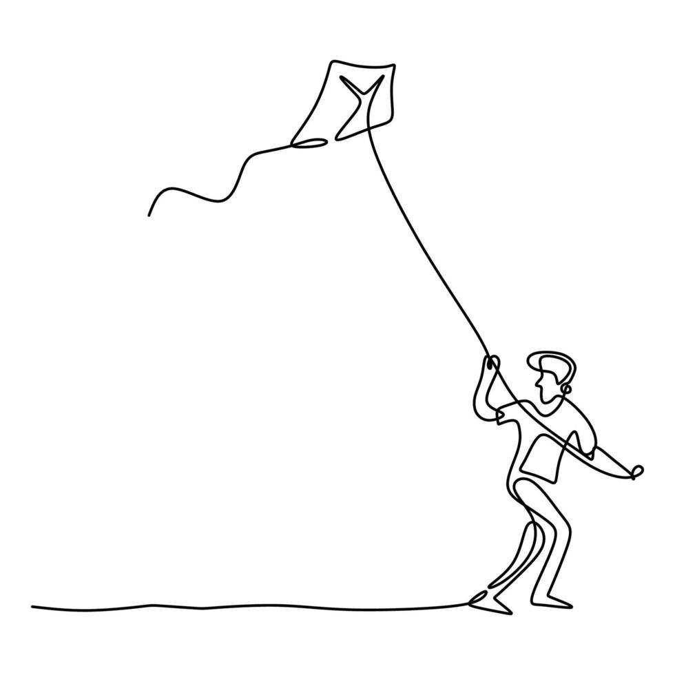 un unico disegno a tratteggio del ragazzo giovane adolescente felice che gioca per far volare l'aquilone nel cielo al campo all'aperto nel periodo estivo. libertà e passione tema creativo disegnato a mano design minimalista vettore