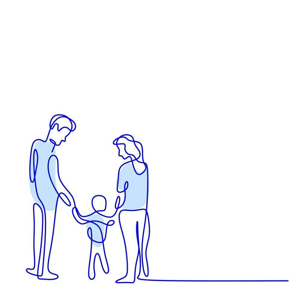 disegno continuo di una linea di famiglia felice. padre, madre sono aiutare il loro bambino a camminare per strada. isolato su sfondo bianco. concetto di genitorialità. illustrazione vettoriale stile minimalista