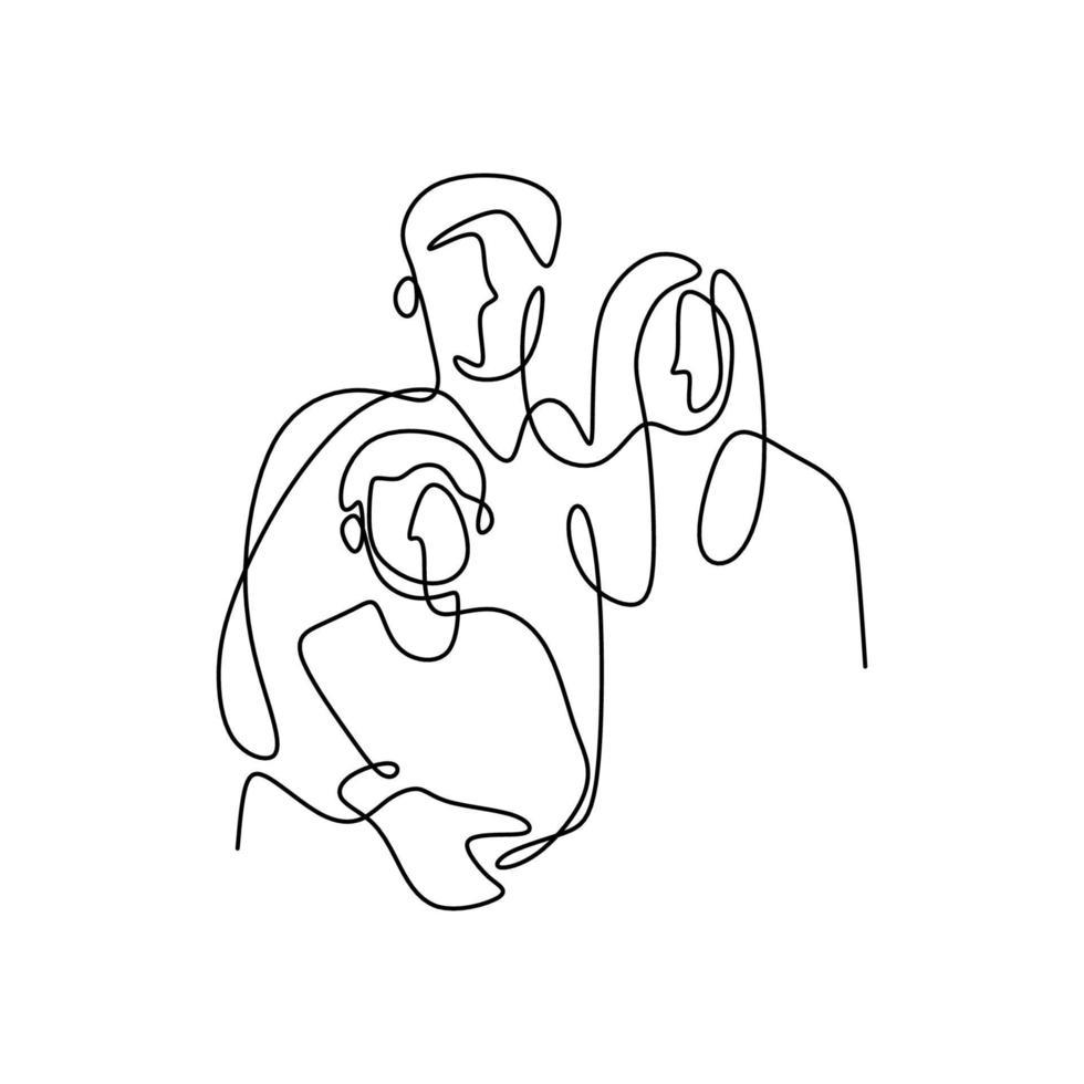 disegno continuo di una linea di famiglia felice. padre, madre che abbraccia il loro bambino insieme pieno di calore a casa isolato su sfondo bianco. concetto di genitorialità. illustrazione vettoriale stile minimalista