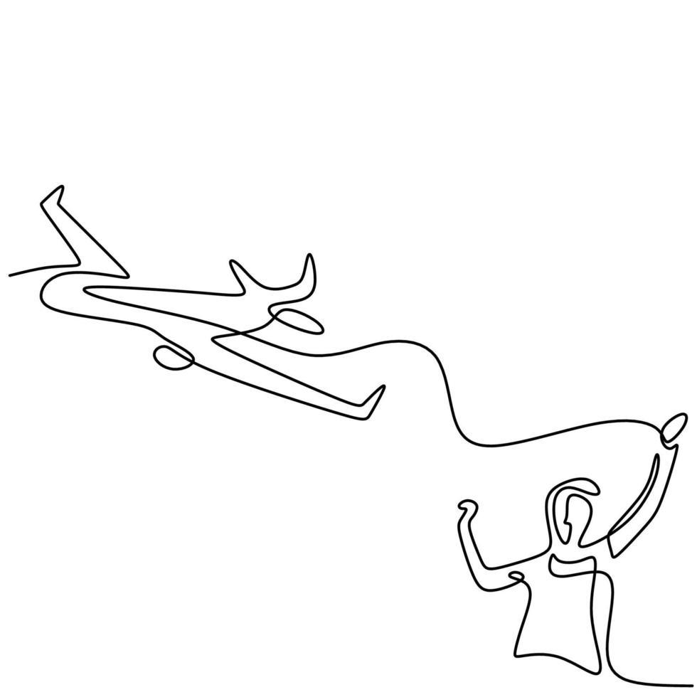 un disegno a tratteggio continuo di un giovane che lancia un aereo giocattolo nel campo. ragazzo adolescente felice giocando aereo nel cielo isolato su sfondo bianco. tema delle attività estive. illustrazione vettoriale