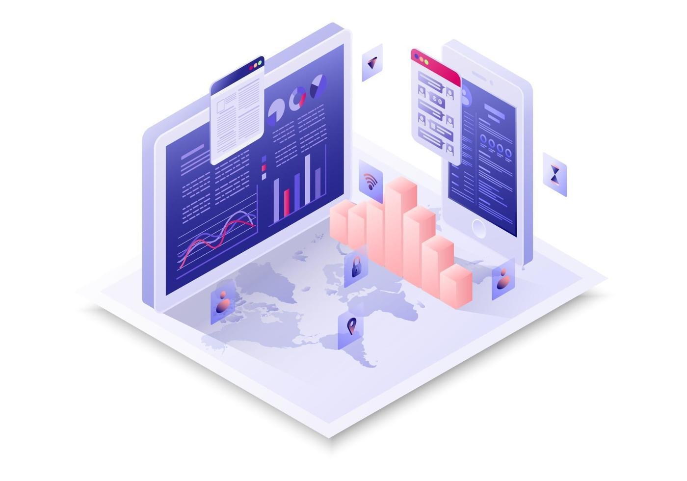 isometrico collegare il concetto di business con il grafico vettore