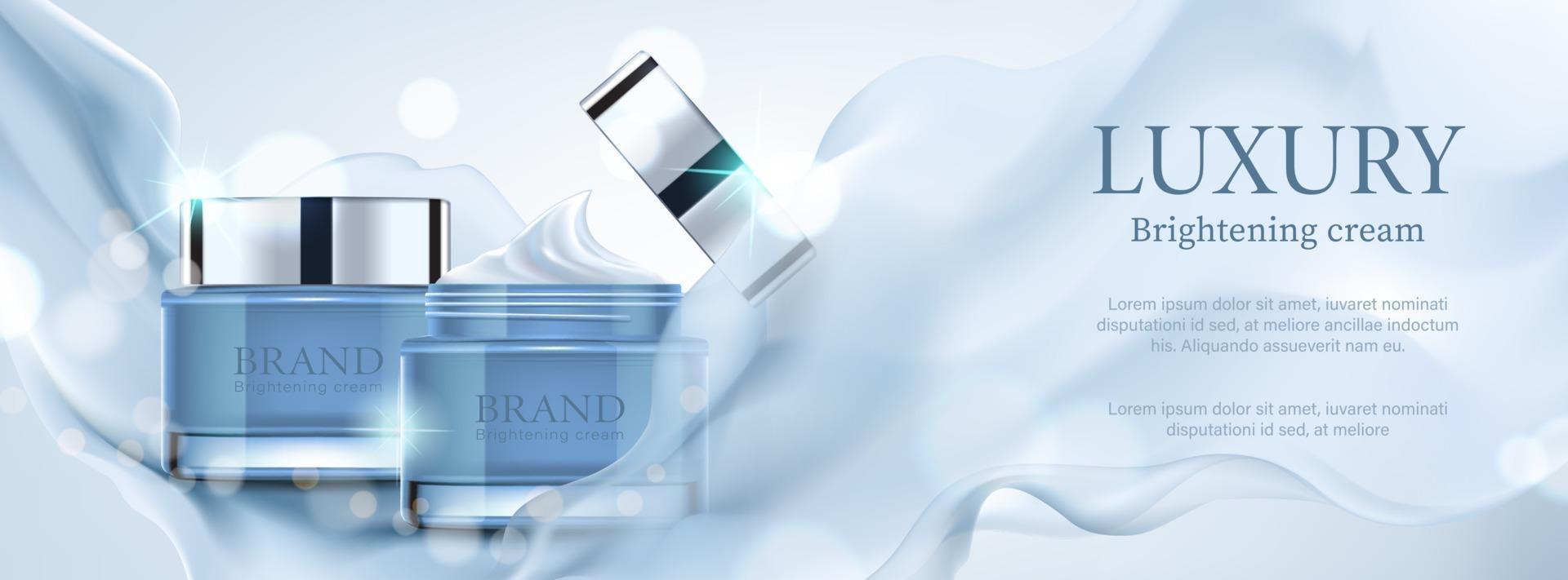 annuncio cosmetico banner di lusso con contenitore con raso blu su sfondo bokeh, illustrazione vettoriale. vettore