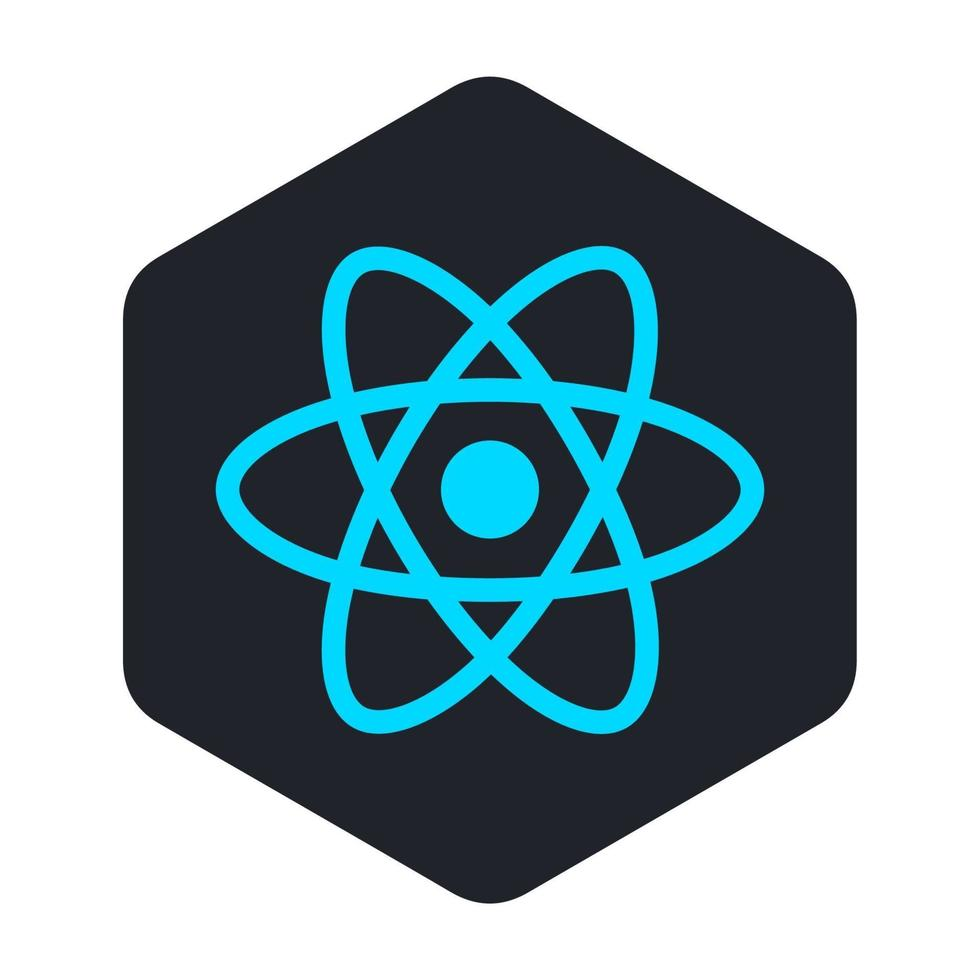 icona dell'atomo blu in un esagono nero vettore