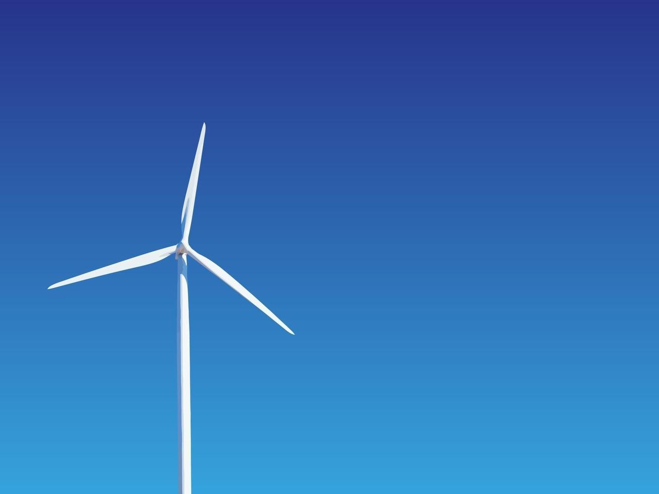 turbina eolica contro il cielo. produzione di energia rispettosa dell'ambiente. vettore