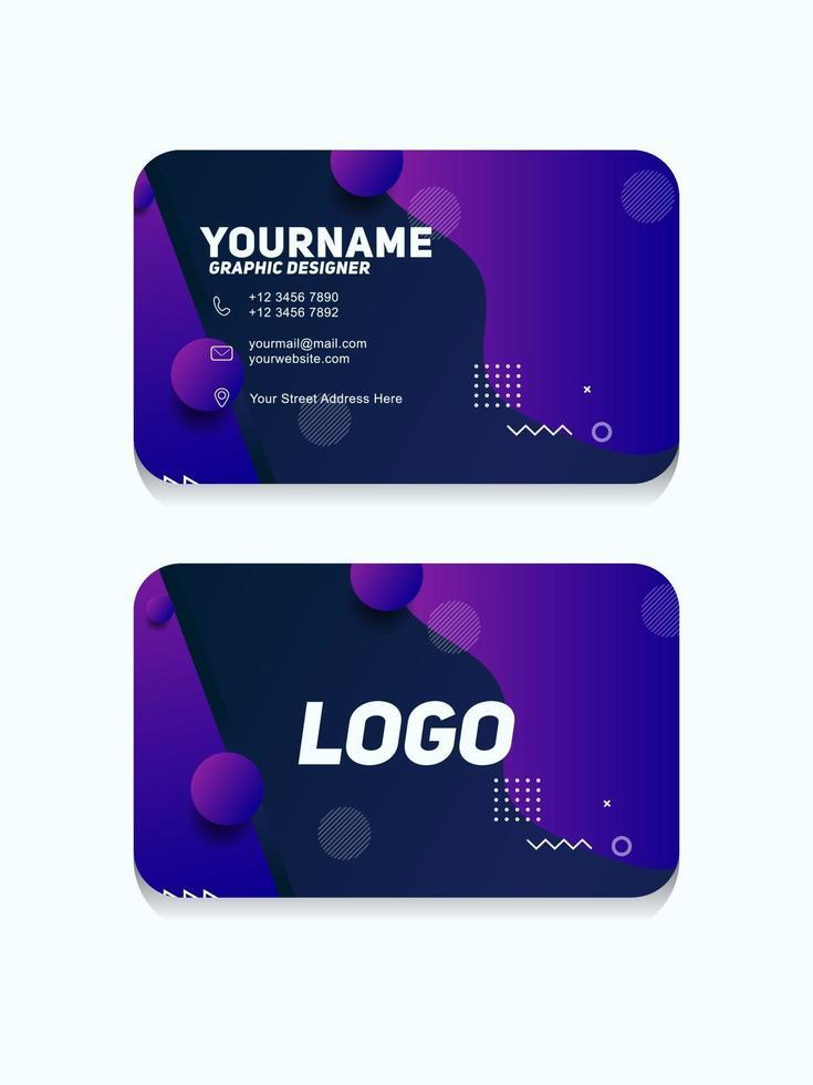 modello di biglietto da visita geometrico moderno con colore viola vettore