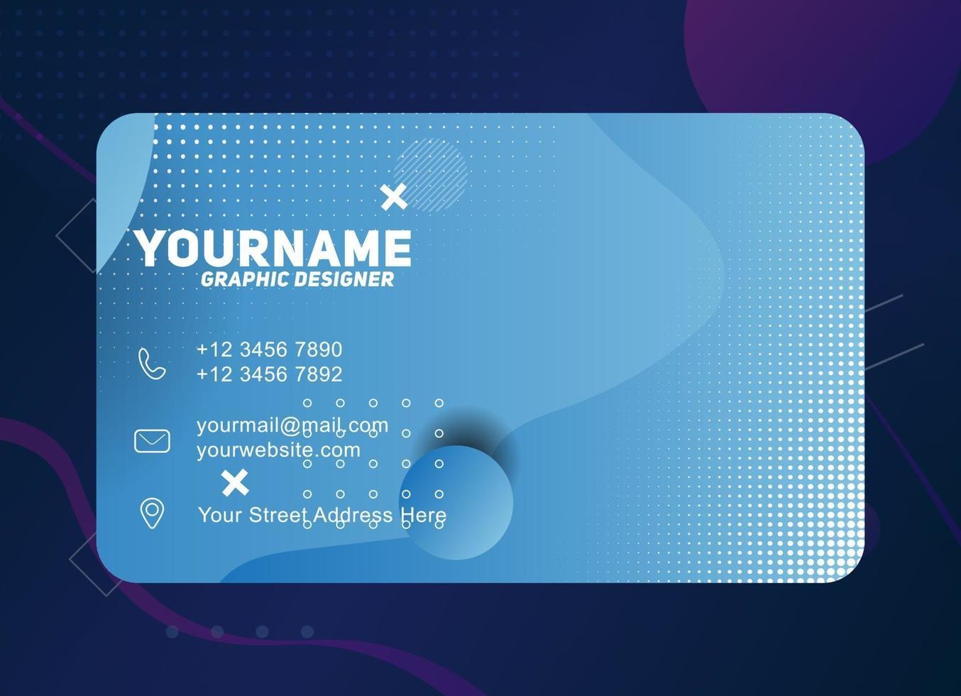 modello di biglietto da visita geometrico moderno con colore azzurro vettore
