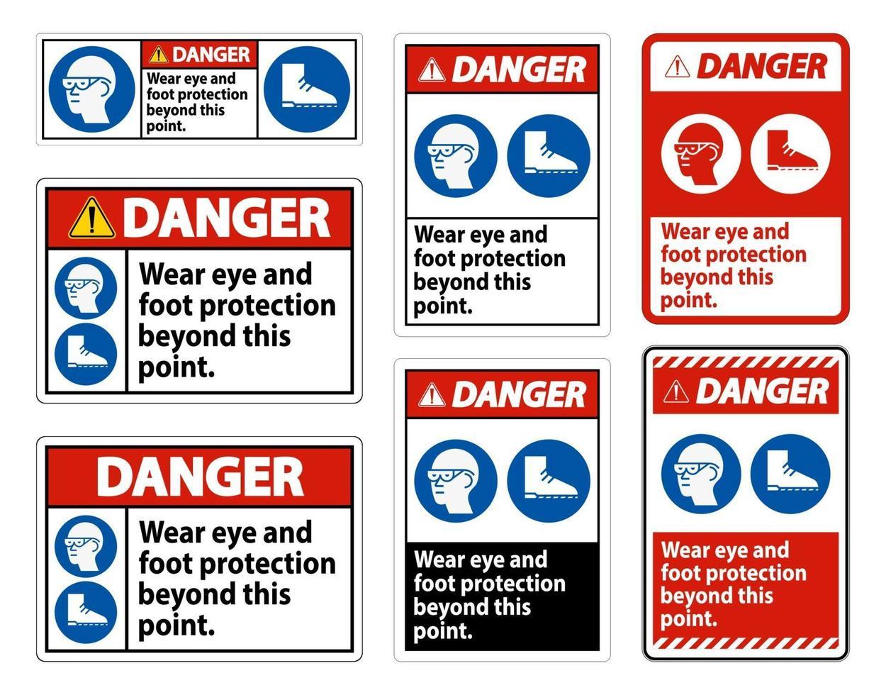 segnale di pericolo indossare una protezione per occhi e piedi oltre questo punto con simboli ppe vettore