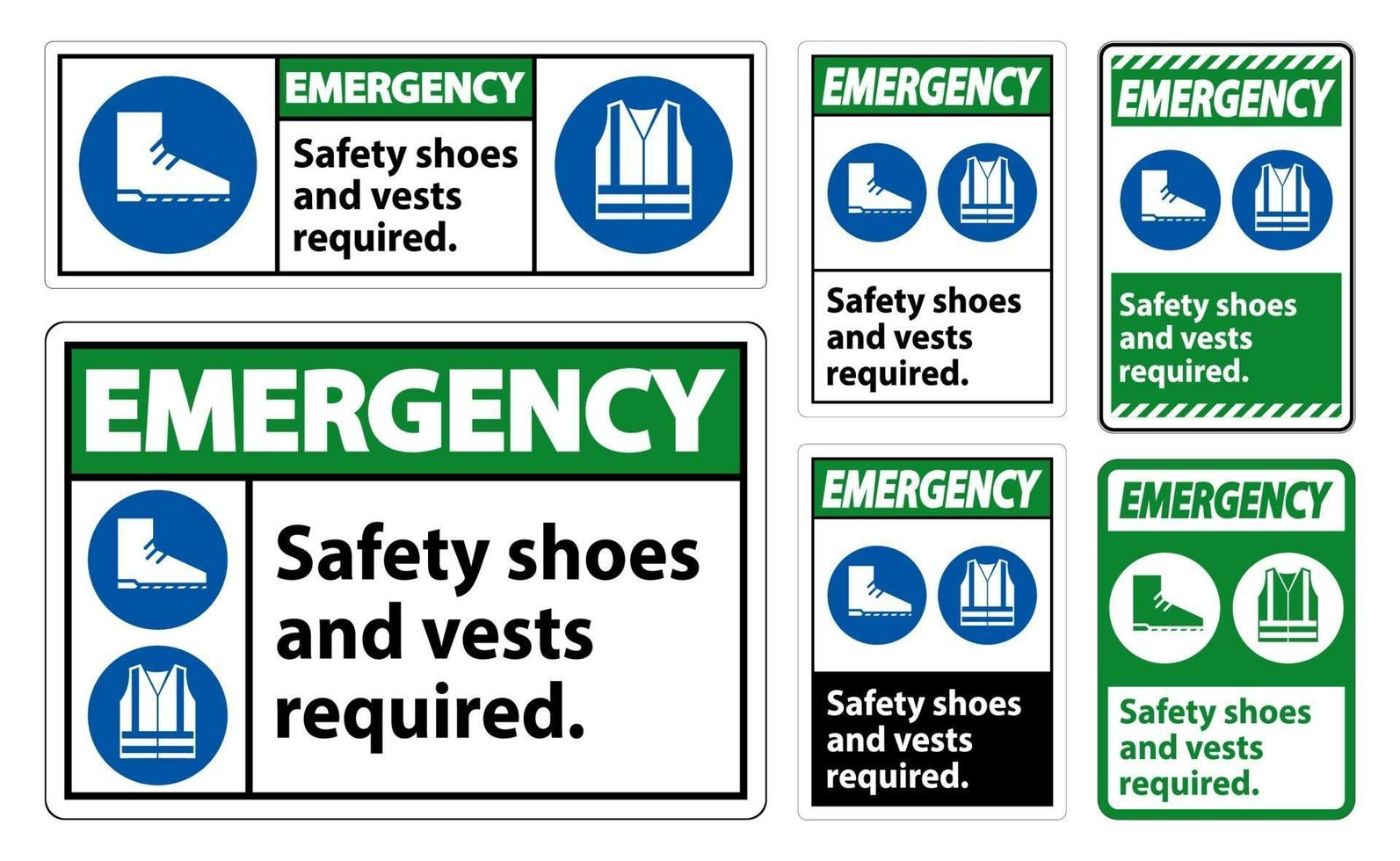 segnaletica di emergenza scarpe di sicurezza e giubbotto richiesti con simboli ppe su sfondo bianco, illustrazione vettoriale