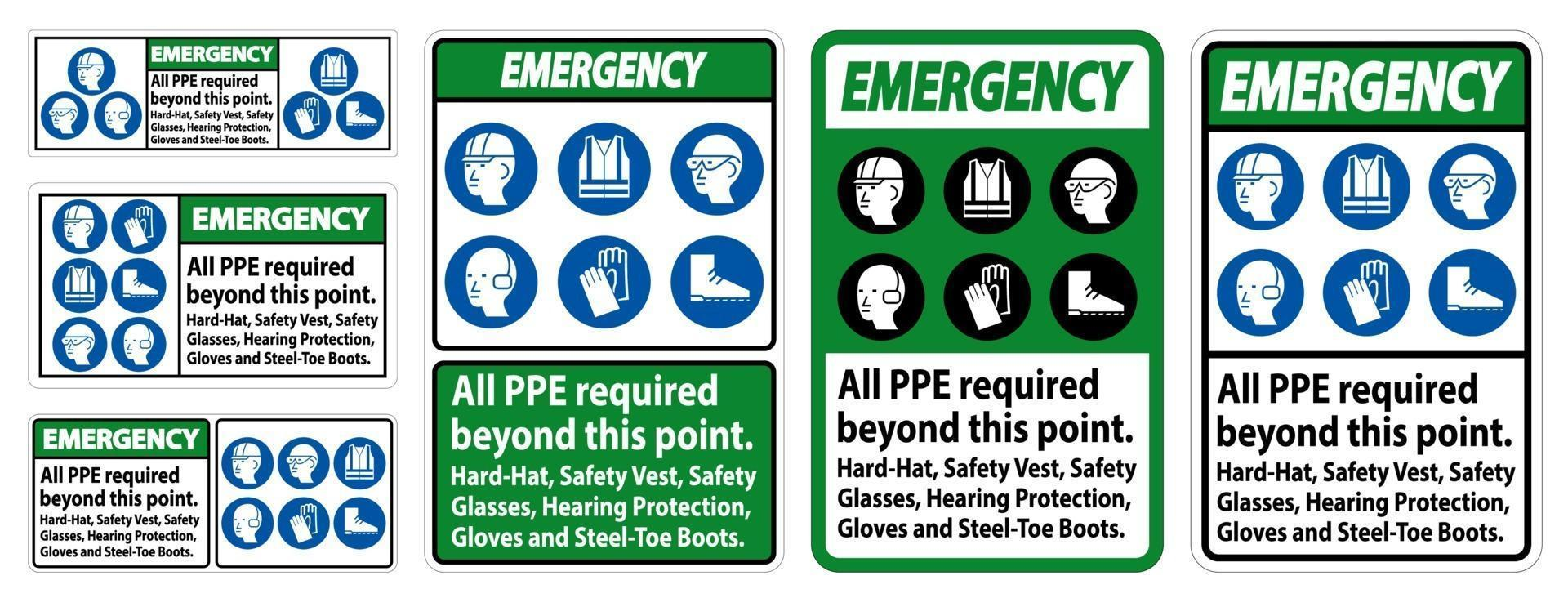 ppe di emergenza richiesto oltre questo punto. elmetto, giubbotto di sicurezza, occhiali di sicurezza, protezione per l'udito vettore