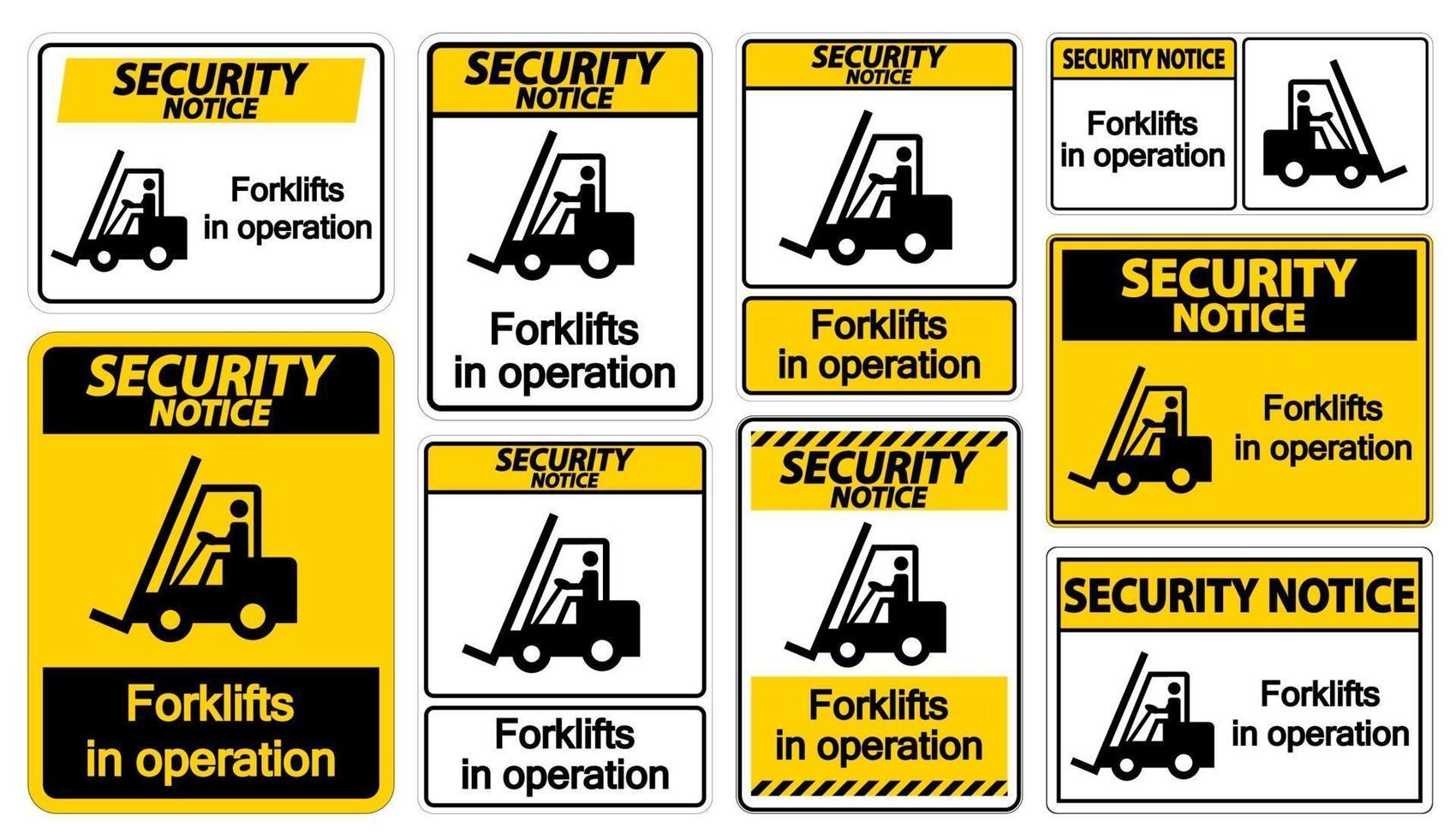 avviso di sicurezza carrelli elevatori in segno di simbolo di funzionamento isolare su sfondo trasparente, illustrazione vettoriale