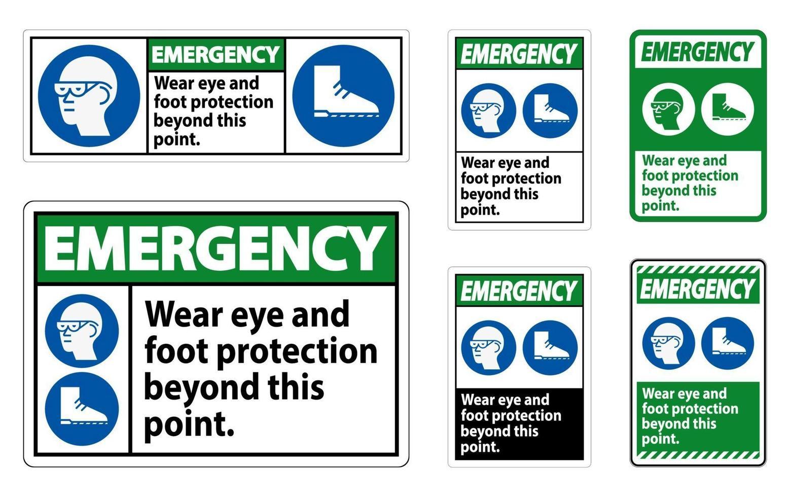 i segnali di emergenza indossano una protezione per occhi e piedi oltre questo punto con simboli ppe vettore
