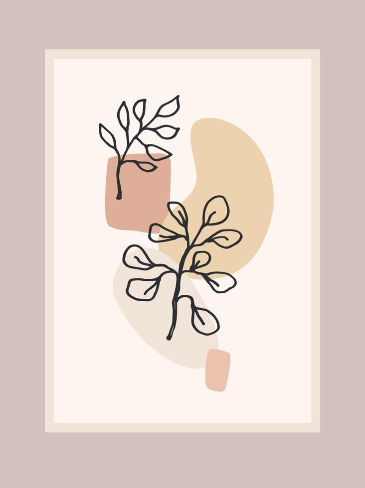 stampa d'arte contemporanea con pianta astratta. Linea artistica. moderno design vettoriale