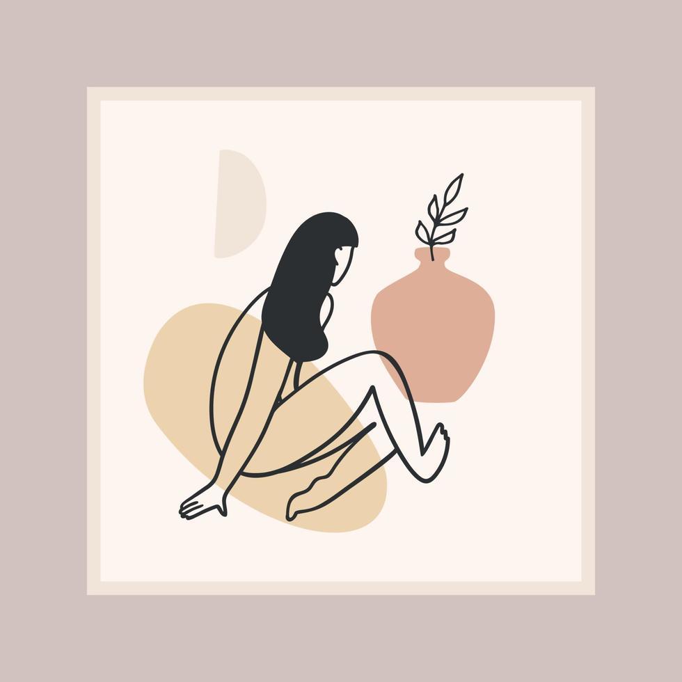 stampa d'arte contemporanea con donna. Linea artistica. moderno design vettoriale