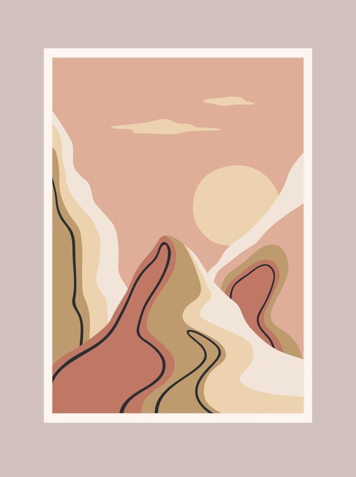 stampa d'arte contemporanea con paesaggio meridionale vettore
