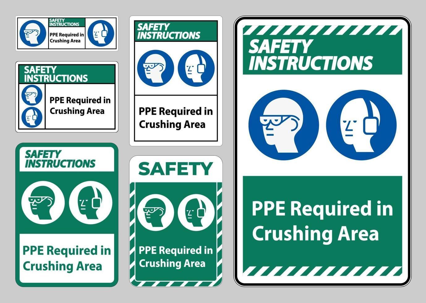 istruzioni di sicurezza firmare ppe richiesto nella zona di frantumazione isolare su sfondo bianco vettore