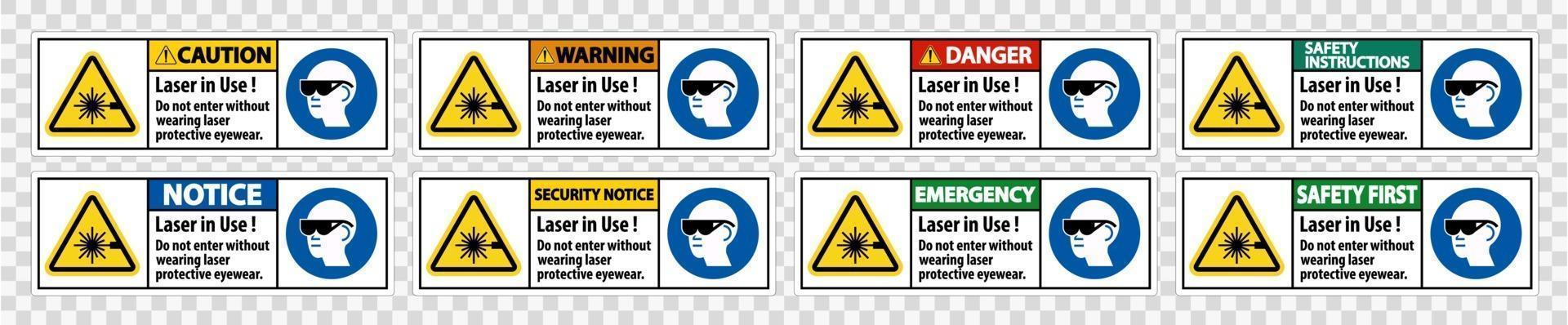 Avvertenza etichetta di sicurezza DPI, laser in uso non entrare senza indossare occhiali protettivi laser vettore