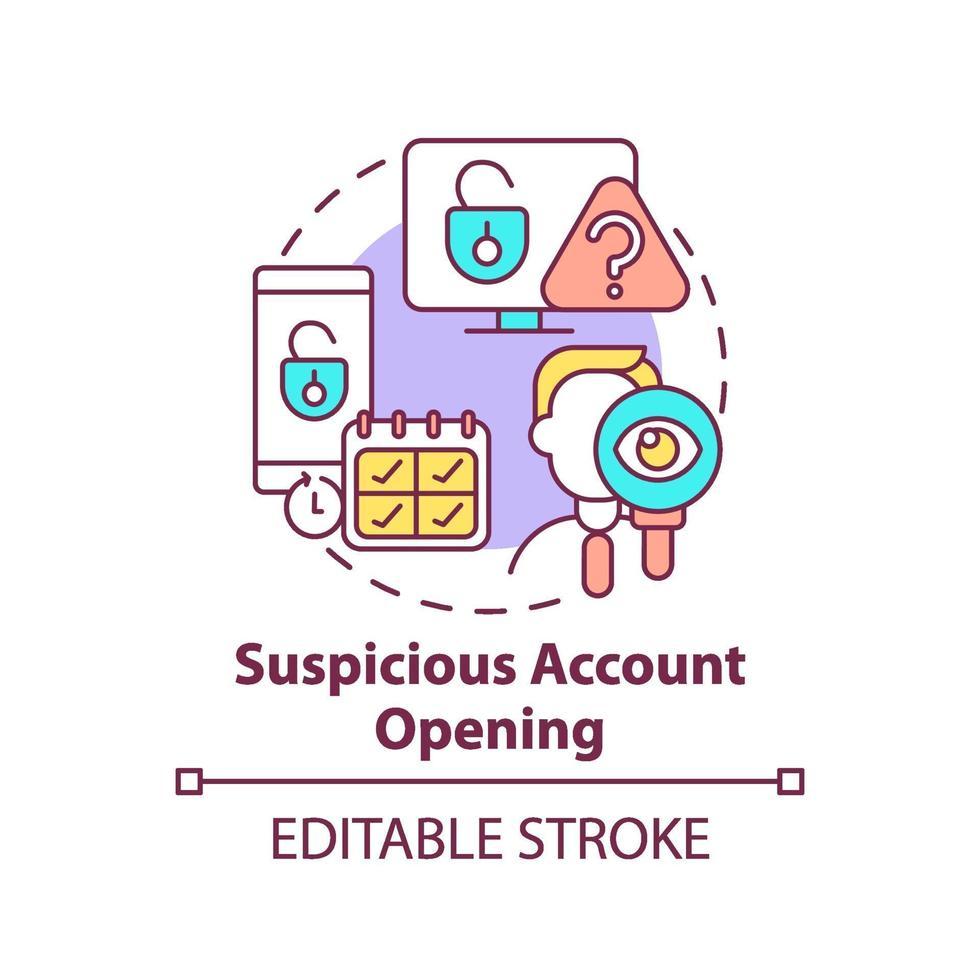 icona del concetto di apertura di account sospetti vettore