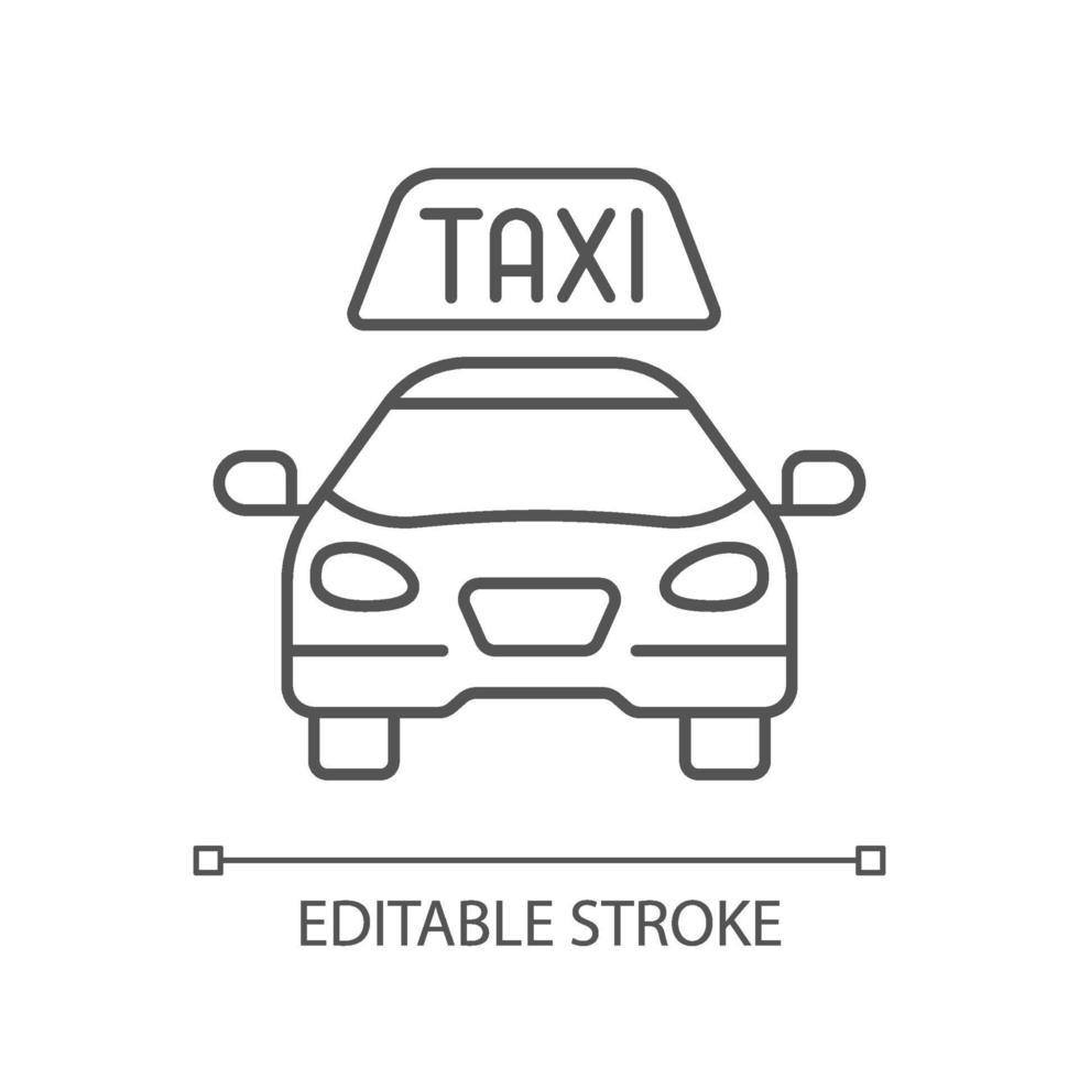 icona lineare di taxi vettore