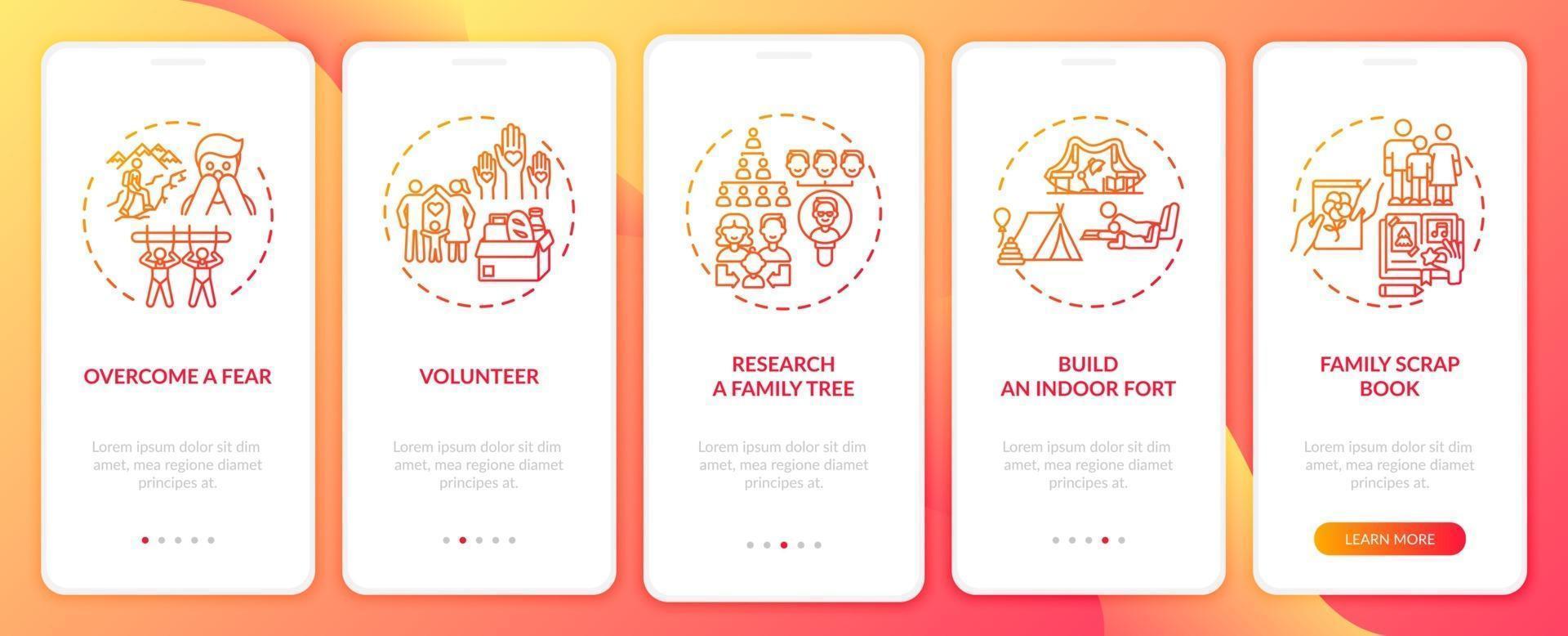 suggerimenti per il legame familiare onboarding schermata della pagina dell'app mobile con concetti vettore