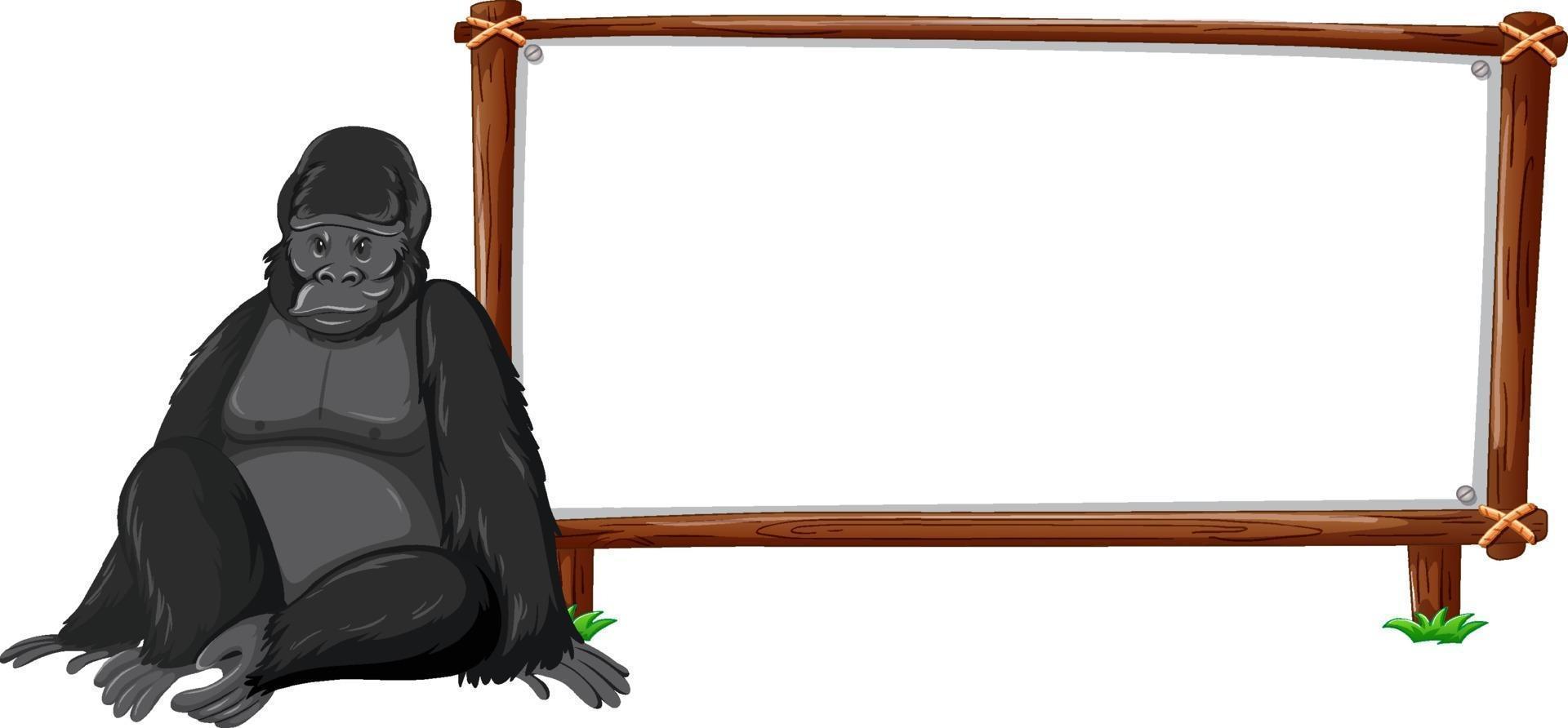 Gorilla con cornice in legno orizzontale isolato su sfondo bianco vettore