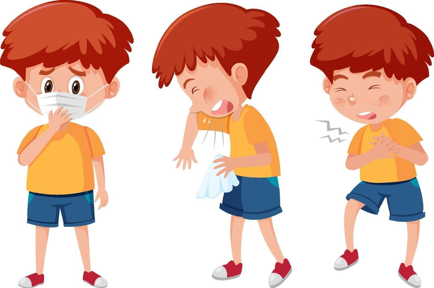 set di un personaggio dei cartoni animati ragazzo con diverse posizioni vettore