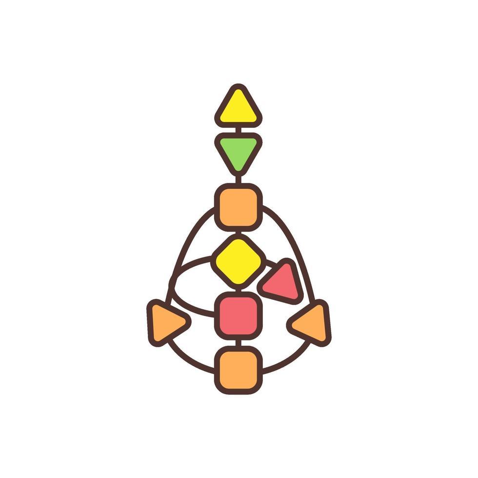 centri energetici nell'icona di colore del corpo rgb vettore