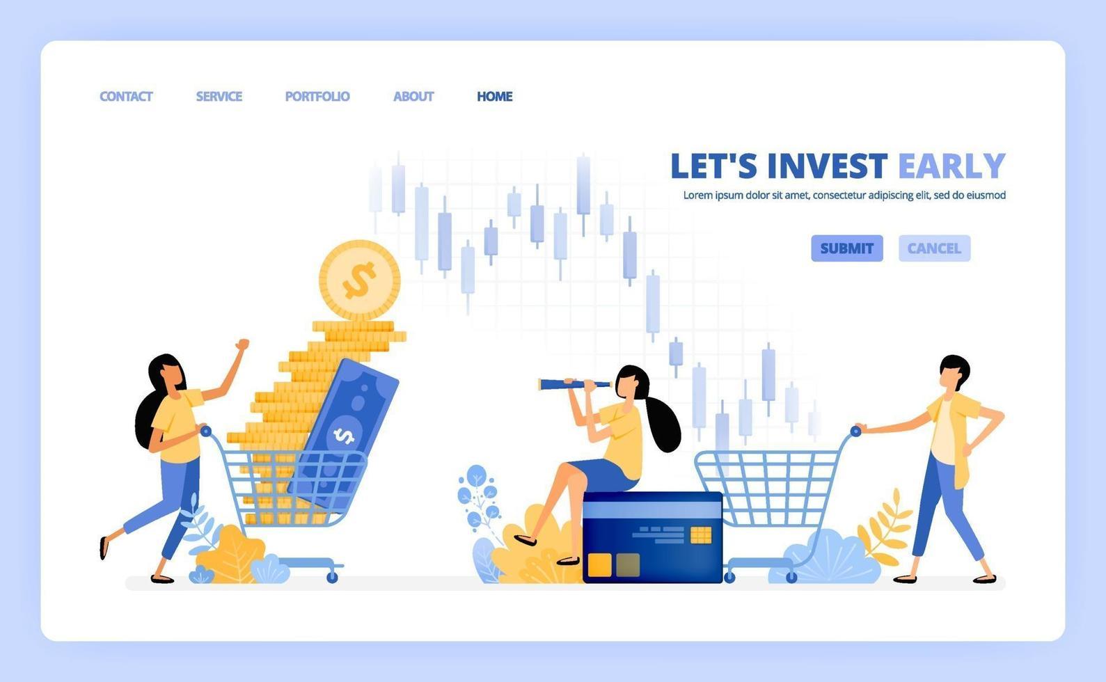 le persone acquistano strumenti di investimento nei mercati monetari, borse valori, fondi comuni di investimento. il concetto di illustrazione vettoriale può essere utilizzato per pagina di destinazione, modello, interfaccia utente, web, app mobile, poster pubblicitari, banner, sito web