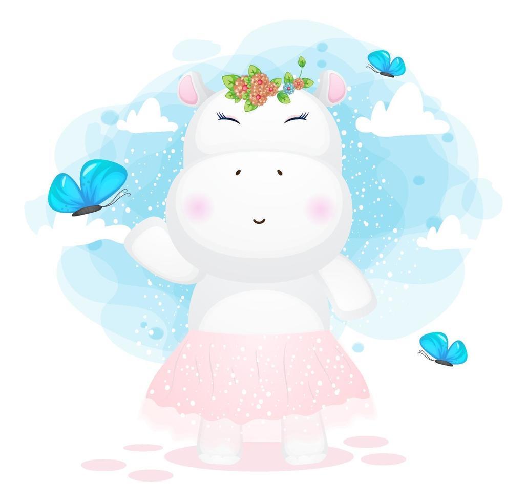 ragazza ippopotamo che gioca con il personaggio dei cartoni animati di farfalla vettore