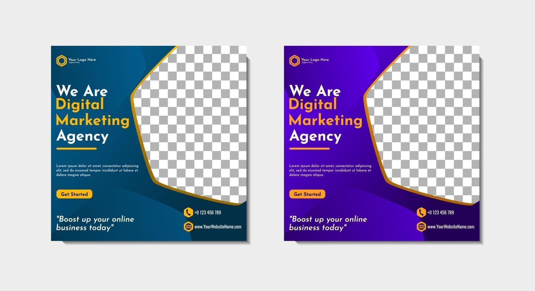 social media post template agenzia di affari digitali vettore