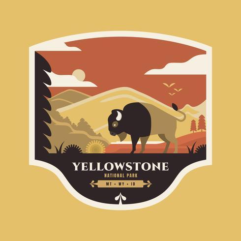 Bisonte americano all'illustrazione del distintivo di Yellowstone del parco nazionale. vettore