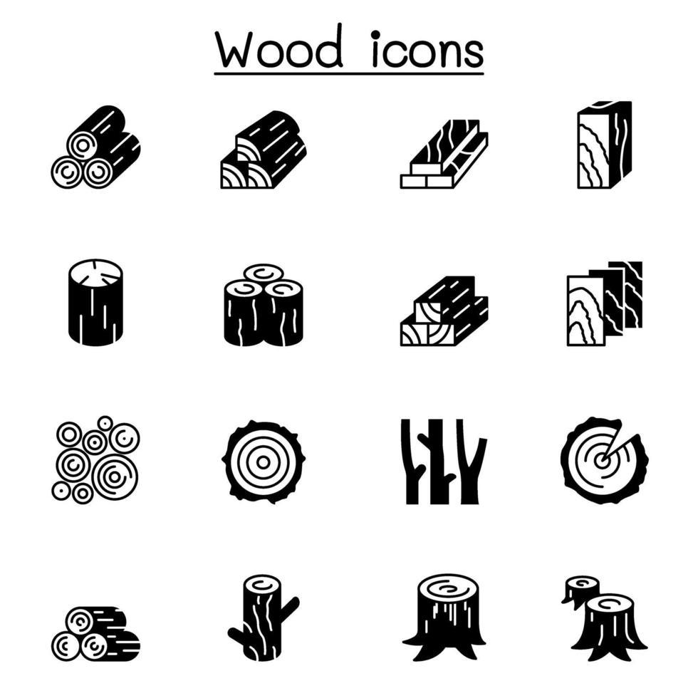 set di icone di legno illustrazione vettoriale graphic design