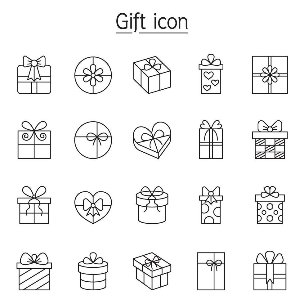 regalo, presente, icona di scatole impostata in stile linea sottile vettore