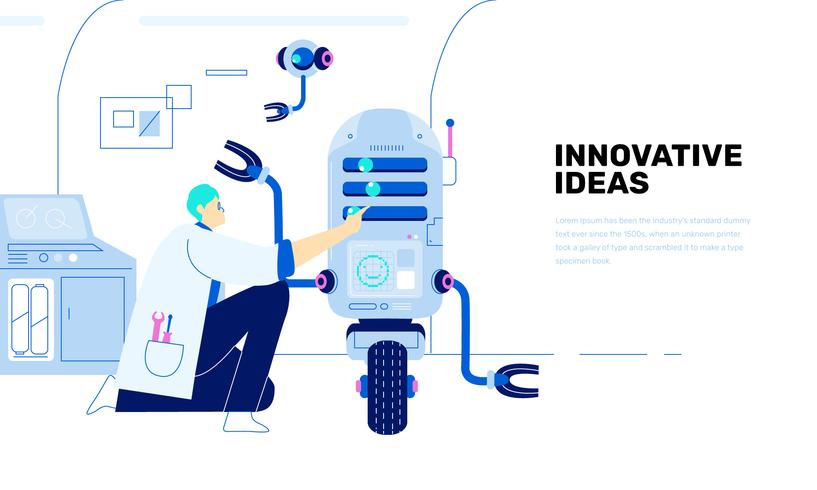 Illustrazione piana di vettore futuro dell'innovazione di tecnologia del robot