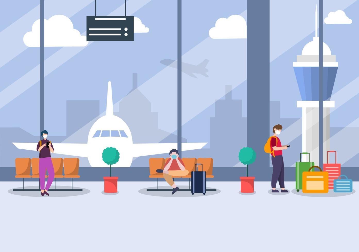 nuovo normale, illustrazione vettoriale persone in maschera seduti nel terminal interno dell'aeroporto, concetto di viaggio d'affari. design piatto.