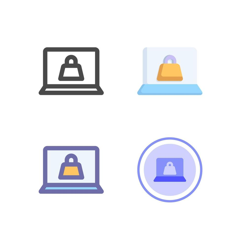 pacchetto di icone del computer portatile isolato su priorità bassa bianca. per il design del tuo sito web, logo, app, ui. illustrazione grafica vettoriale e tratto modificabile. eps 10.