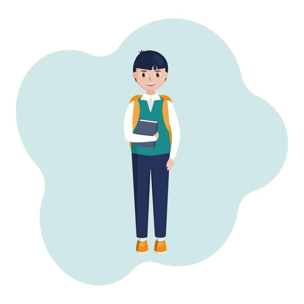 sorride uno scolaro con un libro in mano e uno zaino, un bambino allegro in canottiera con camicia e pantaloni. immagine piatta vettoriale