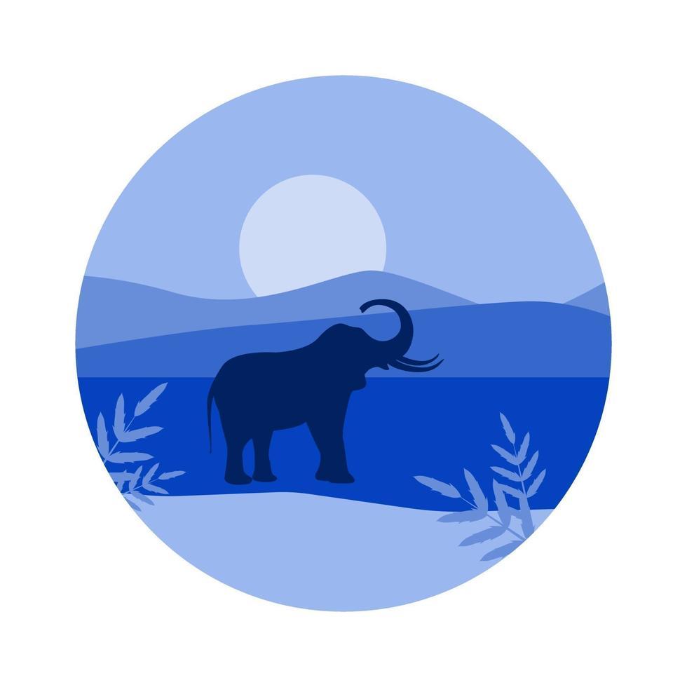 immagine vettoriale di una silhouette di elefante sullo sfondo delle montagne e il sole in tonalità blu
