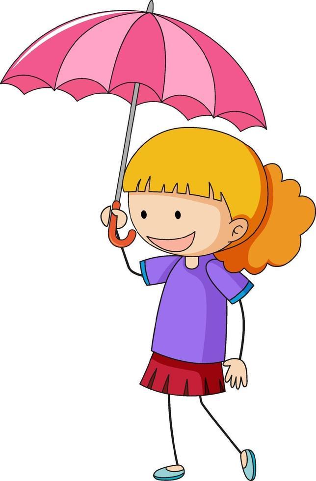 ragazza con personaggio dei cartoni animati di ombrello vettore