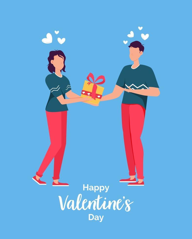 carta regalo per appuntamenti romantici di San Valentino. relazione degli amanti due persone. regalo della holding delle coppie amorose. vettore