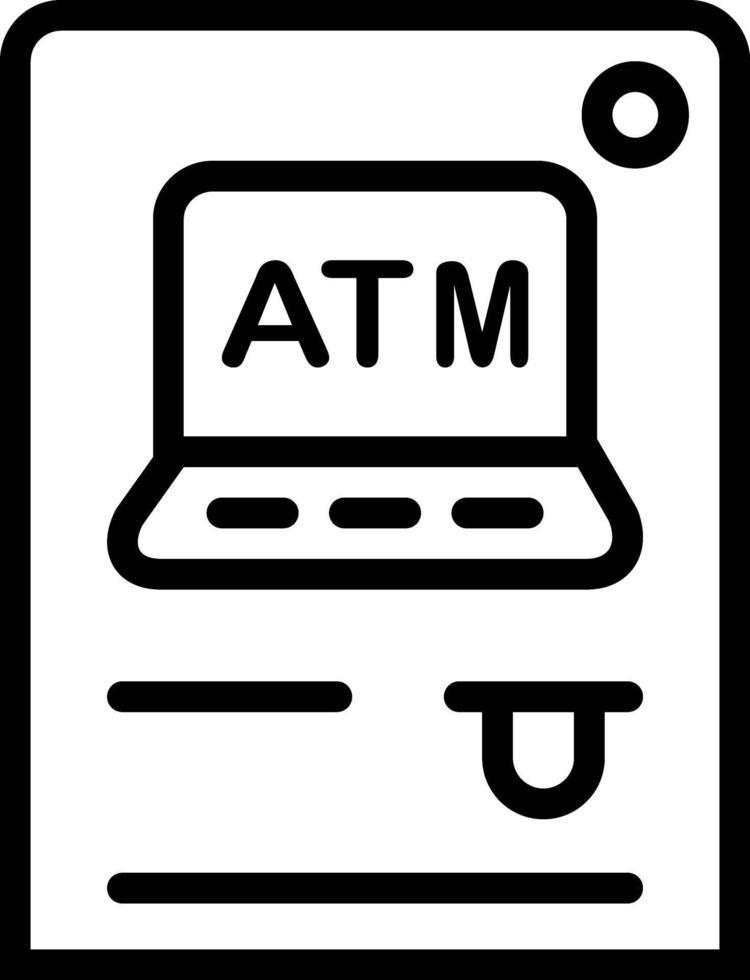 icona linea per bancomat vettore