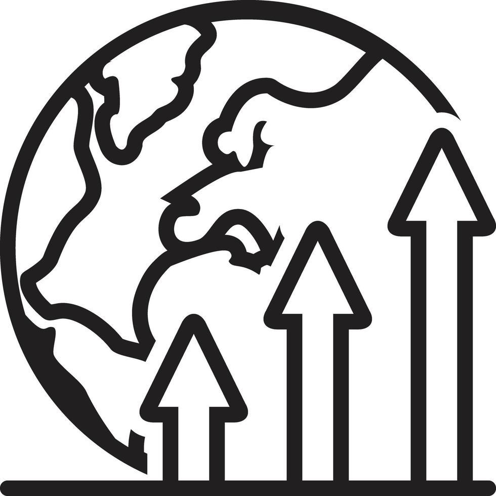 icona della linea per il mondo vettore