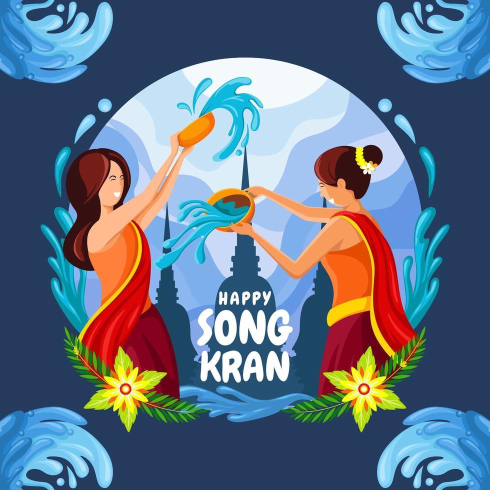 due donne che giocano ad acqua al Songkran vettore