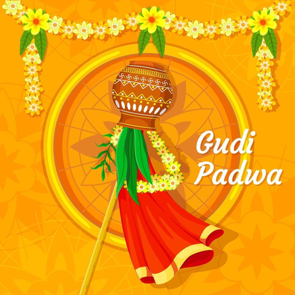 gudi padwa festival concept, vettore