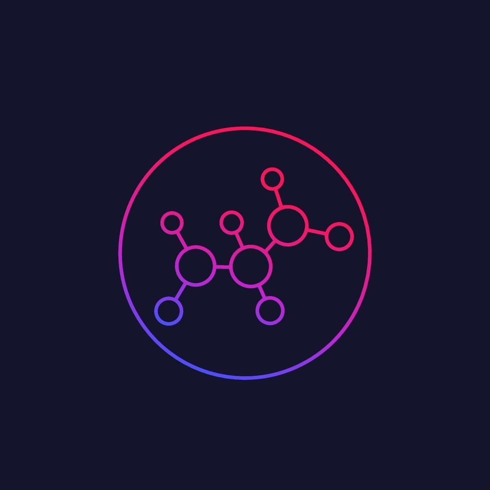 icona della molecola, vettore lineare di scienza